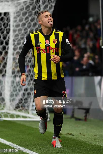 Gerard Deulofeu of Watford celebrates after scoring his team's second goal during the Premier League match between Watford FC and Huddersfield Town...