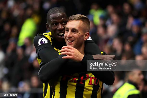 Gerard Deulofeu of Watford celebrates after scoring his team's second goal with Abdoulaye Doucoure of Watford during the Premier League match between...