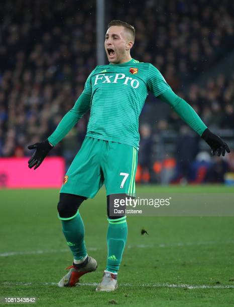 Gerard Deulofeu of Watford celebrates after Tom Cleverley scores his team's second goal during the Premier League match between Crystal Palace and...