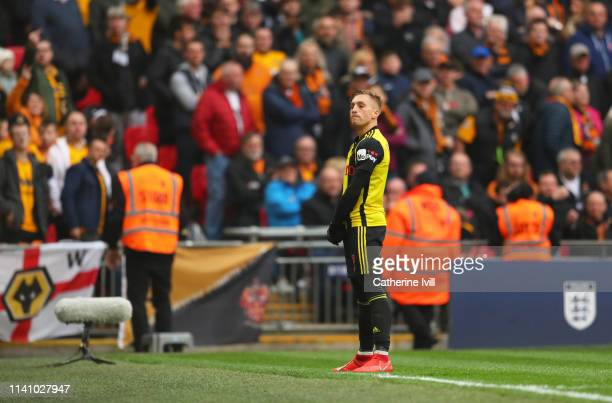 Gerard Deulofeu of Watford celebrates as he scores their third goal during the FA Cup Semi Final match between Watford and Wolverhampton Wanderers at...