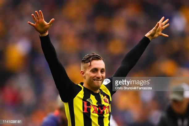 Gerard Deulofeu of Watford celebrates at full-time following the FA Cup Semi Final match between Watford and Wolverhampton Wanderers at Wembley...