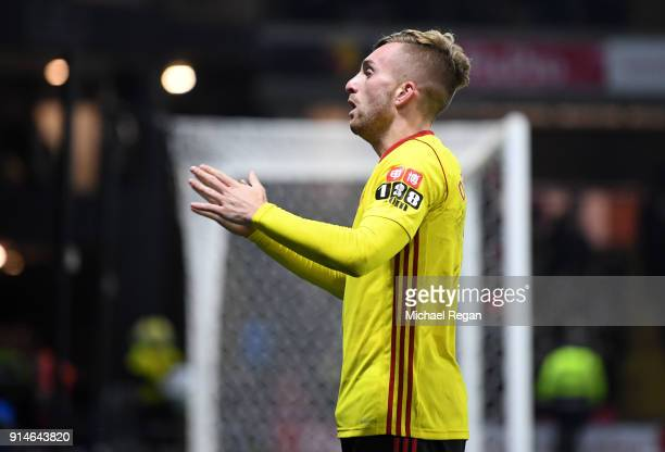 Gerard Deulofeu of Watford celebrates scoring the 3rd Watford goal during the Premier League match between Watford and Chelsea at Vicarage Road on...