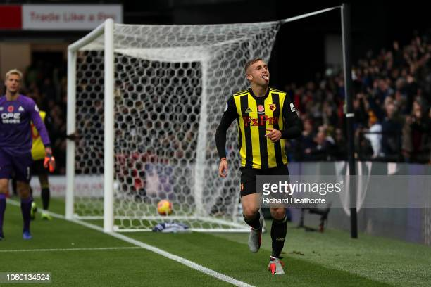 Gerard Deulofeu of Watford celebrates scoring the second goal during the Premier League match between Watford FC and Huddersfield Town at Vicarage...