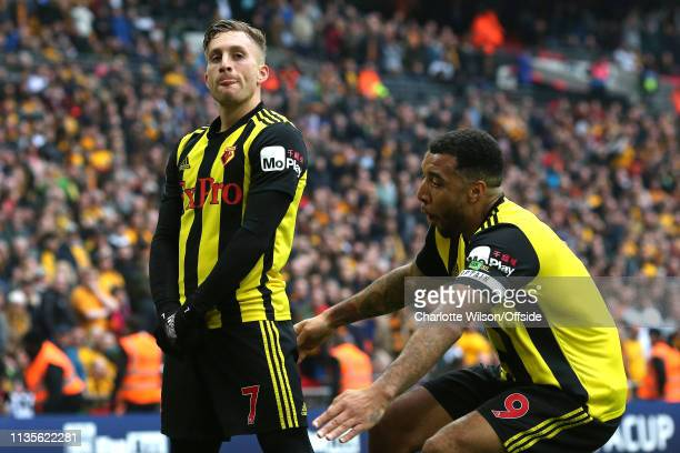 Gerard Deulofeu of Watford celebrates scoring their 3rd goal calmly even as Troy Deeney rushes to pick him up during the FA Cup Semi Final match...