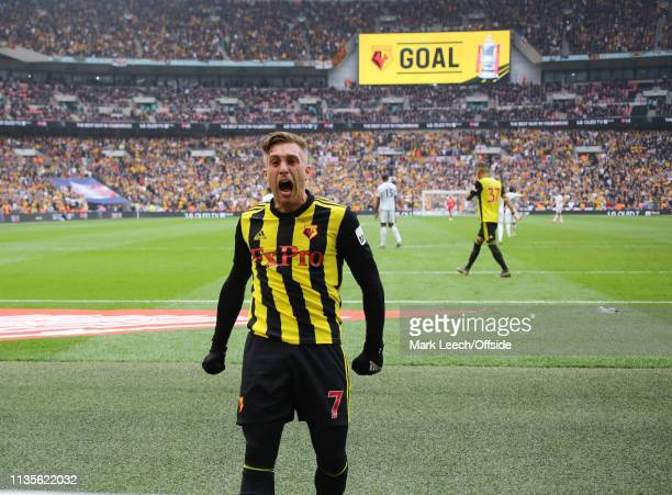 Gerard Deulofeu of Watford celebrates the equalising goal for Watford, scored by Deeney during the FA Cup Semi Final match between Watford and...