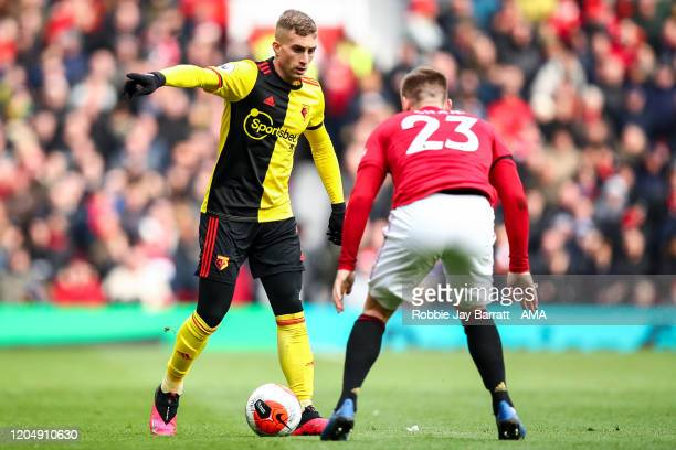 Gerard Deulofeu of Watford during the Premier League match between Manchester United and Watford FC at Old Trafford on February 23 2020 in Manchester...
