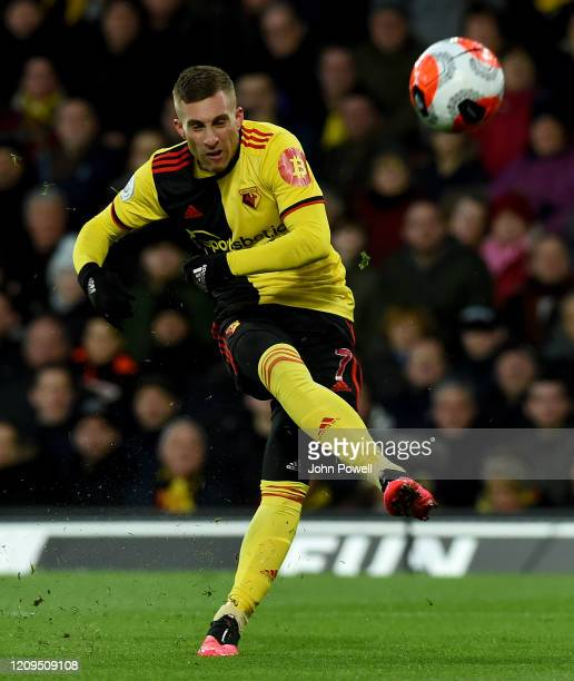 Gerard Deulofeu of Watford during the Premier League match between Watford FC and Liverpool FC at Vicarage Road on February 29 2020 in Watford United...
