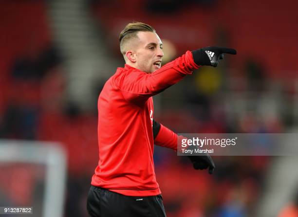 Gerard Deulofeu of Watford during the Premier League match between Stoke City and Watford at Bet365 Stadium on January 31 2018 in Stoke on Trent...