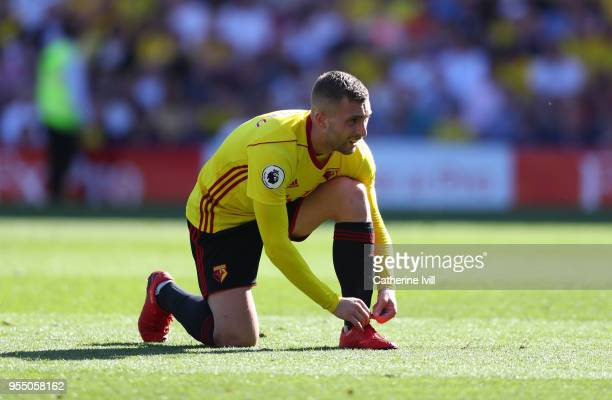 Gerard Deulofeu of Watford during the Premier League match between Watford and Newcastle United at Vicarage Road on May 5 2018 in Watford England