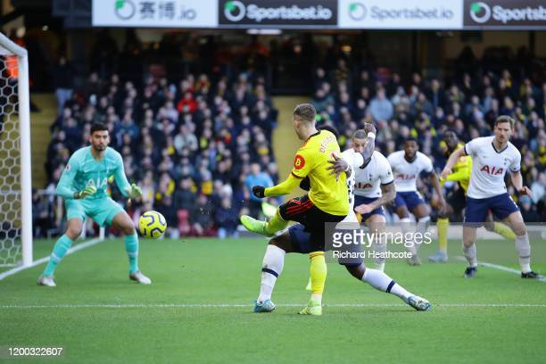 Gerard Deulofeu of Watford has a shot saved by Paulo Gazzaniga of Tottenham Hotspur during the Premier League match between Watford FC and Tottenham...