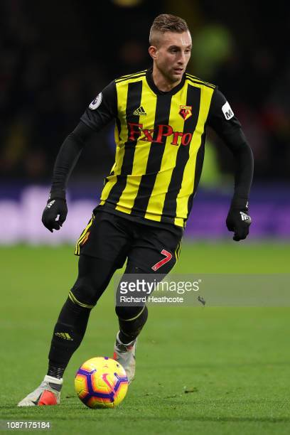 Gerard Deulofeu of Watford in action during the Premier League match between Watford FC and Chelsea FC at Vicarage Road on December 26 2018 in...
