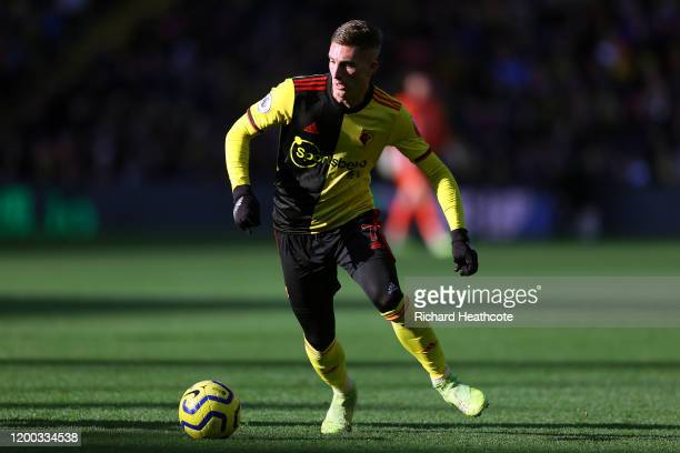 Gerard Deulofeu of Watford in action during the Premier League match between Watford FC and Tottenham Hotspur at Vicarage Road on January 18 2020 in...