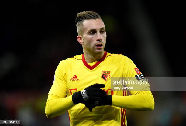 Gerard Deulofeu of Watford in action during the Premier League match between Stoke City and Watford at Bet365 Stadium on January 31 2018 in Stoke on...