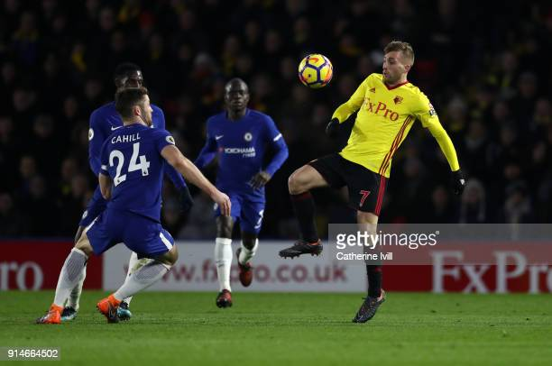 Gerard Deulofeu of Watford in action during the Premier League match between Watford and Chelsea at Vicarage Road on February 5 2018 in Watford...