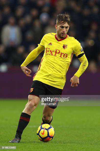 Gerard Deulofeu of Watford in action during the Premier League match between West Ham United and Watford at London Stadium on February 10 2018 in...