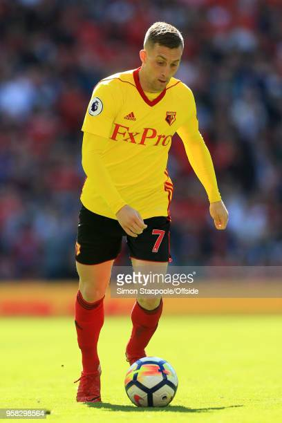 Gerard Deulofeu of Watford in action during the Premier League match between Manchester United and Watford at Old Trafford on May 13 2018 in...