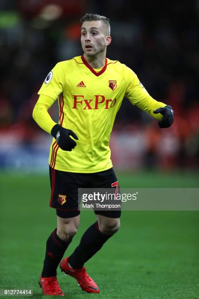 Gerard Deulofeu of Watford looks on during the Premier League match between Stoke City and Watford at Bet365 Stadium on January 31 2018 in Stoke on...