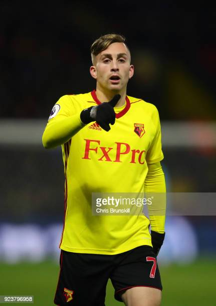 Gerard Deulofeu of Watford looks on during the Premier League match between Watford and Everton at Vicarage Road on February 24 2018 in Watford...