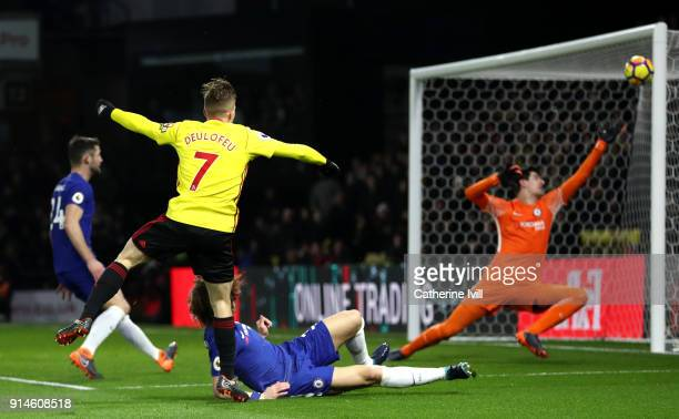 Gerard Deulofeu of Watford miises a chance during the Premier League match between Watford and Chelsea at Vicarage Road on February 5 2018 in Watford...
