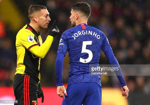 Gerard Deulofeu of Watford reacts after clashing with Jorginho of Chelsea during the Premier League match between Watford FC and Chelsea FC at...