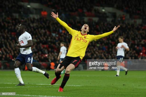 Gerard Deulofeu of Watford reacts after his goal is chalked off for offside during the Premier League match between Tottenham Hotspur and Watford at...