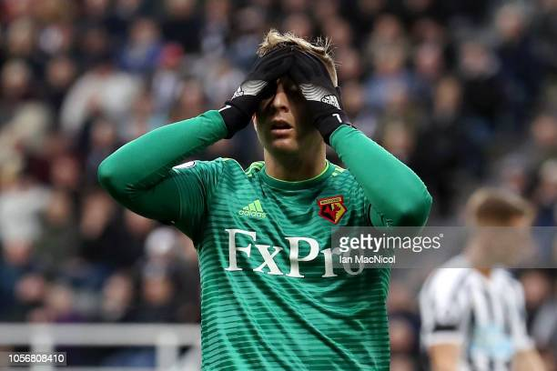 Gerard Deulofeu of Watford reacts during the Premier League match between Newcastle United and Watford FC at St James Park on November 3 2018 in...