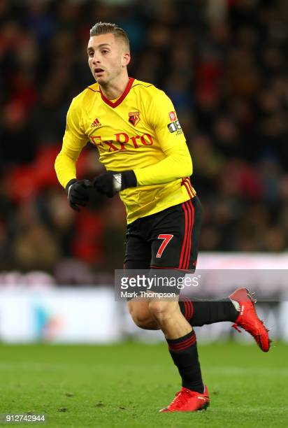 Gerard Deulofeu of Watford runs during the Premier League match between Stoke City and Watford at Bet365 Stadium on January 31 2018 in Stoke on Trent...