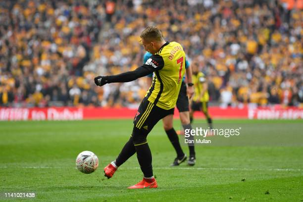 Gerard Deulofeu of Watford scores his team's first goal during the FA Cup Semi Final match between Watford and Wolverhampton Wanderers at Wembley...