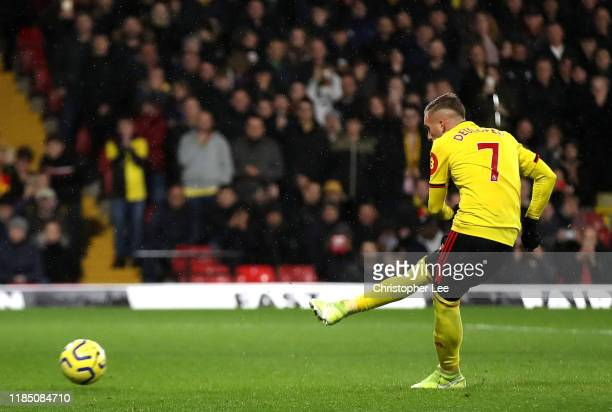 Gerard Deulofeu of Watford scores his team's first goal from the penalty spot during the Premier League match between Watford FC and Chelsea FC at...