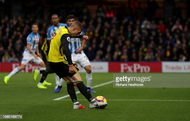 Gerard Deulofeu of Watford scores his team's second goal during the Premier League match between Watford FC and Huddersfield Town at Vicarage Road on...