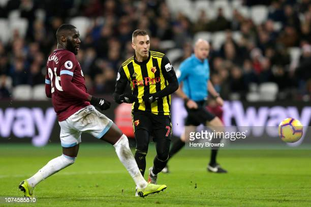 Gerard Deulofeu of Watford scores his team's second goal during the Premier League match between West Ham United and Watford FC at London Stadium on...