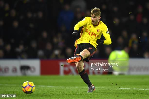 Gerard Deulofeu of Watford scores the 3rd Watford goal during the Premier League match between Watford and Chelsea at Vicarage Road on February 5...