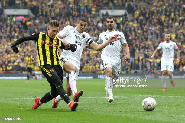 Gerard Deulofeu of Watford scores their 3rd goal to bring the score to 3-2 in extra time during the FA Cup Semi Final match between Watford and...