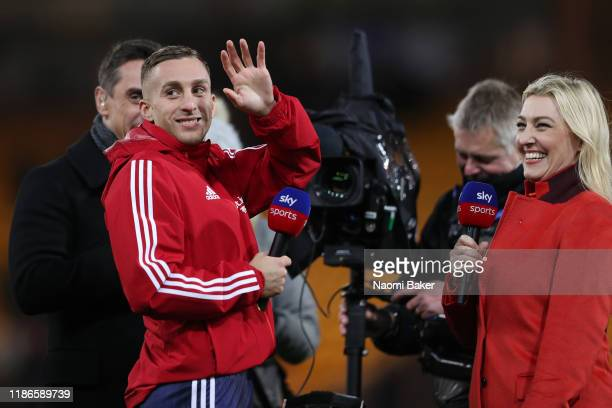 Gerard Deulofeu of Watford speaks to Sky Sports Presenters Kelly Cates and Gary Neville after the Premier League match between Norwich City and...