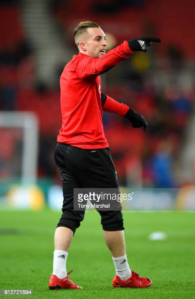 Gerard Deulofeu of Watford warms up prior to the Premier League match between Stoke City and Watford at Bet365 Stadium on January 31 2018 in Stoke on...
