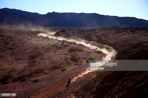 Gerard Farres Guell of Spain and KTM Himoinsa rides a 450 Rally KTM bike in the Elite ASO during stage three of the 2017 Dakar Rally between San...
