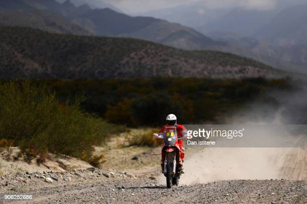 Gerard Farres Guell of Spain and KTM Himoinsa rides a 450 Rally KTM bike in the Elite ASO during stage eleven of the 2018 Dakar Rally between Belen...