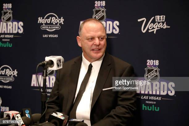Gerard Gallant head coach of the Vegas Golden Knights speaks to the media during the 2018 NHL Awards presented by Hulu at The Joint Hard Rock Hotel...