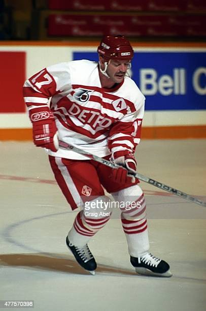 Gerard Gallant of the Detroit Red Wings takes warmup prior to a game against the Toronto Maple Leafs on October 5 1991 at Maple Leaf Gardens in...