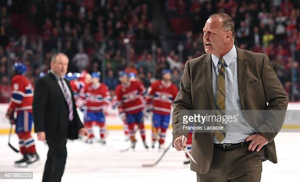 Gerard Gallant of the Florida Panthers exchanges words with referee after the game against the Montreal Canadiens in the NHL game at the Bell Centre...