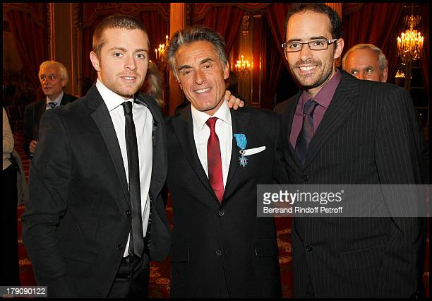 Gerard Holtz and children Julien and Antoine at Francois Kosciusko Morizet Receives Honour At The Palais De L'Elysee In Paris
