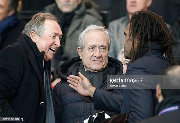 Gerard Houiller Jean Tiberi and Christian Karembeu attend the UEFA Champions League between Paris SaintGermain FC and Olympiacos FC at Parc Des...