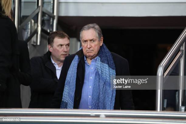 Gerard Houllier attends the Ligue 1 match between Paris Saint Germain and AS Monaco at Parc des Princes on April 15 2018 in Paris