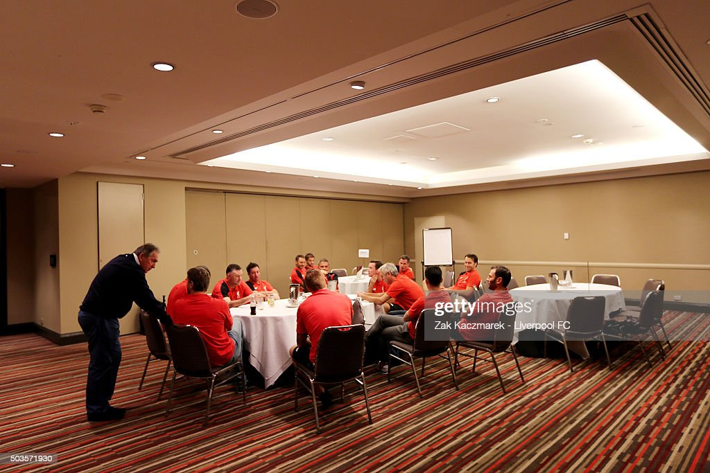 Gerard Houllier holds a team meeting with Liverpool Legends on January 6, 2016 in Sydney, Australia.