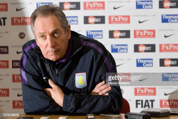 Gerard Houllier manager of Aston Villa attends a press conference at Bodymoor Heath training ground on January 7 2011 in Birmingham England