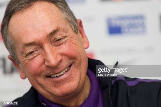 Gerard Houllier manager of Aston Villa smiles during a press conference at the Bodymoor Heath training ground on January 14 2011 in Birmingham England