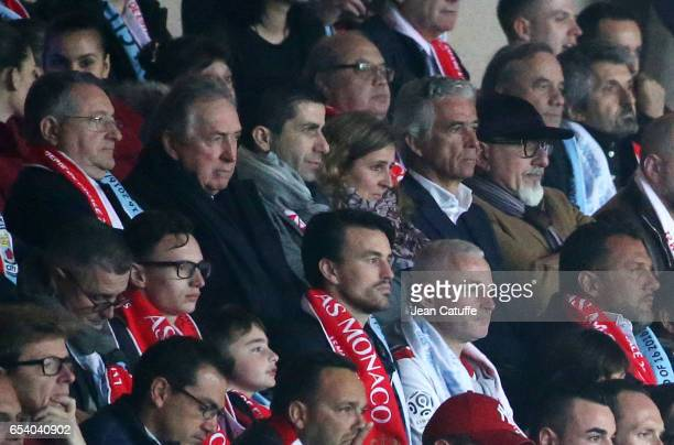 Gerard Houllier President of OGC Nice JeanPierre Rivere attend the UEFA Champions League Round of 16 second leg match between AS Monaco and...