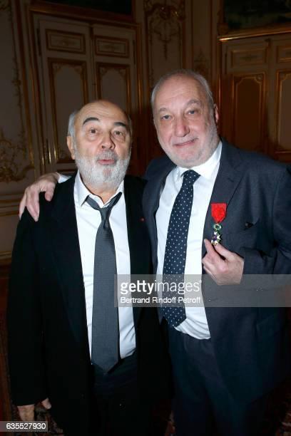 Gerard Jugnot and Francois Berleand attend Francois Berleand is elevated to the rank of 'Officier de la Legion d'Honneur' at Hotel de Matignon on...