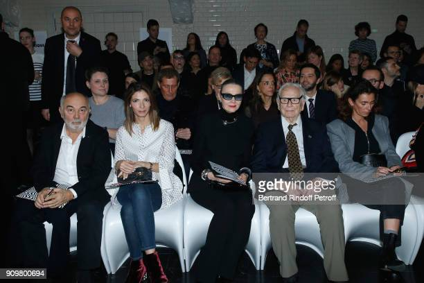 Gerard Jugnot his wife Patricia Campi First Model of Pierre Cardin Marine Gaspard Pierre Cardin and Mademoiselle Agnes Boulard attend the JeanPaul...