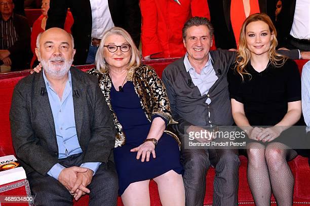 Gerard Jugnot Josiane Balasko Daniel Auteuil and Caroline Vigneaux attend the 'Vivement Dimanche' French TV Show at Pavillon Gabriel on April 8 2015...